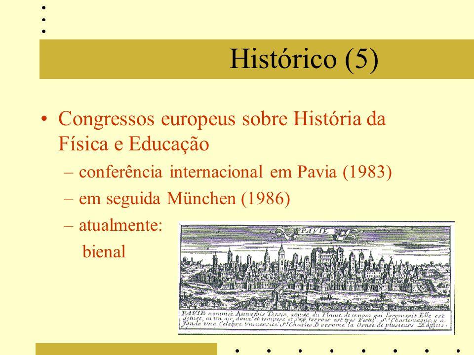 Histórico (5) Congressos europeus sobre História da Física e Educação