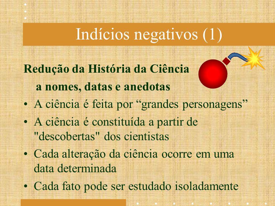 Indícios negativos (1) Redução da História da Ciência