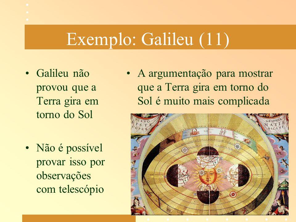 Exemplo: Galileu (11) Galileu não provou que a Terra gira em torno do Sol. Não é possível provar isso por observações com telescópio.