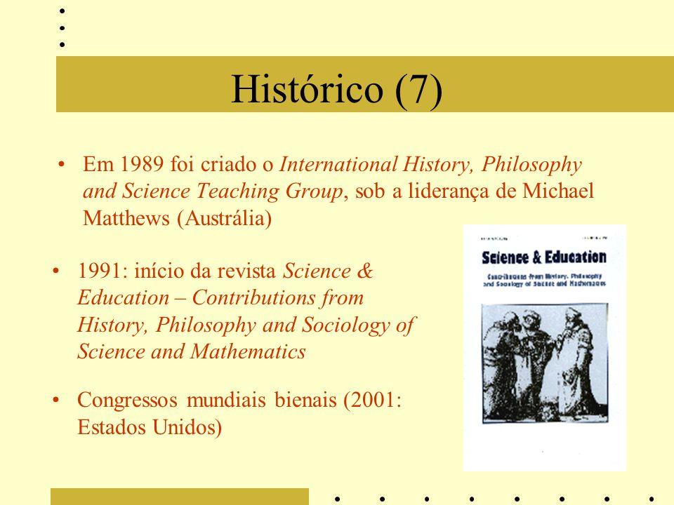 Histórico (7) Em 1989 foi criado o International History, Philosophy and Science Teaching Group, sob a liderança de Michael Matthews (Austrália)