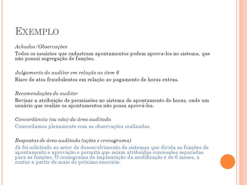 Exemplo Achados/Observações