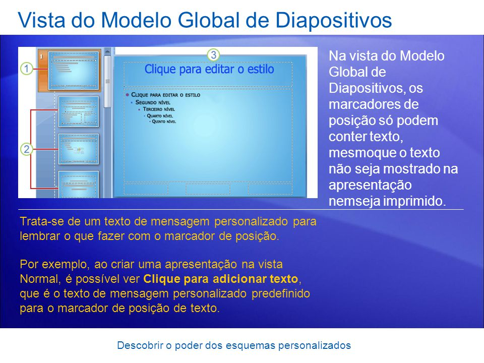 Vista do Modelo Global de Diapositivos