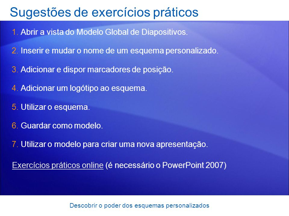 Sugestões de exercícios práticos