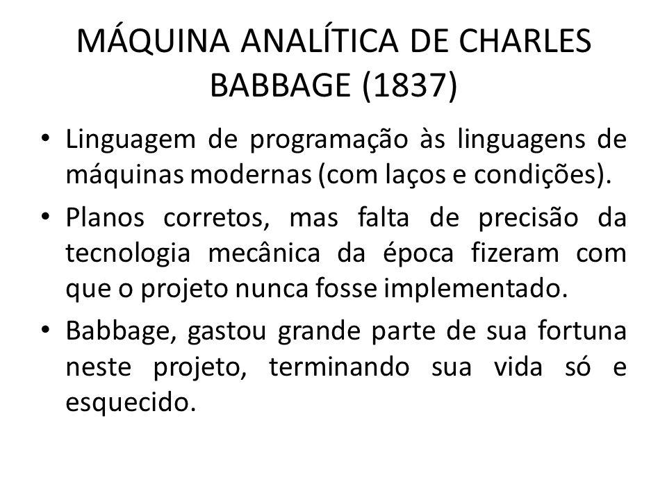 MÁQUINA ANALÍTICA DE CHARLES BABBAGE (1837)