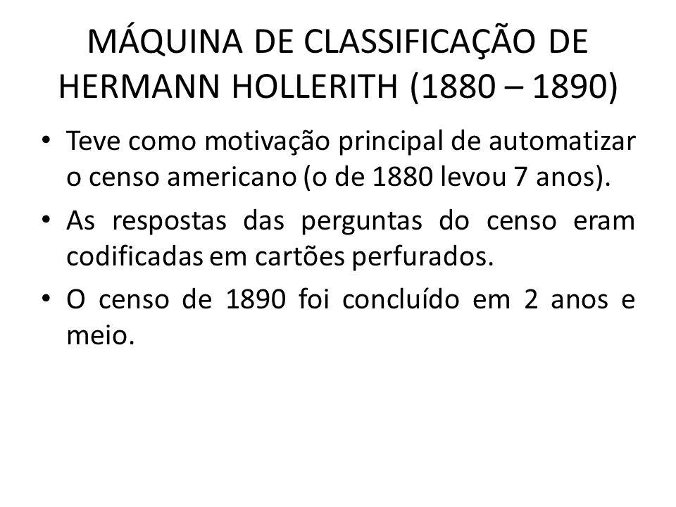 MÁQUINA DE CLASSIFICAÇÃO DE HERMANN HOLLERITH (1880 – 1890)