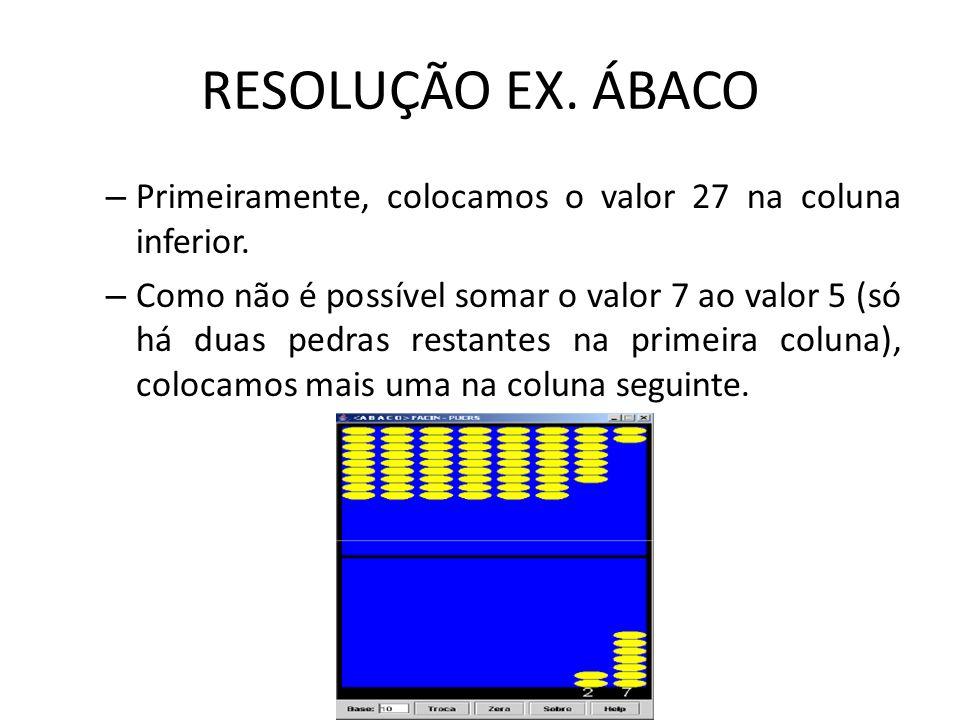 RESOLUÇÃO EX. ÁBACO Primeiramente, colocamos o valor 27 na coluna inferior.