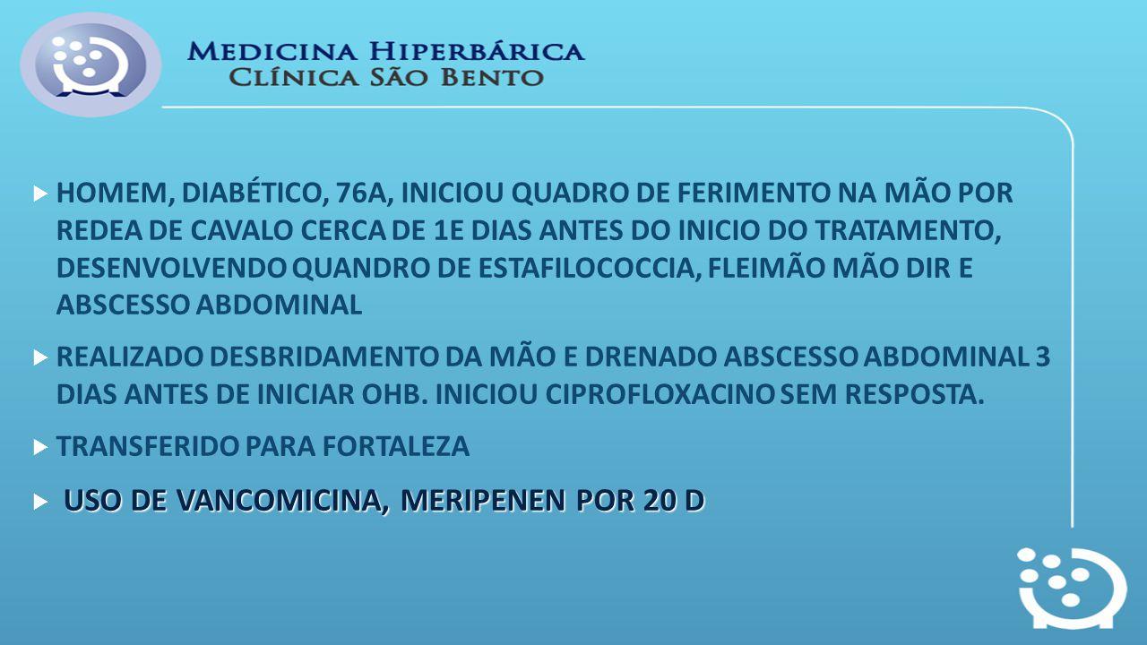 HOMEM, DIABÉTICO, 76A, INICIOU QUADRO DE FERIMENTO NA MÃO POR REDEA DE CAVALO CERCA DE 1E DIAS ANTES DO INICIO DO TRATAMENTO, DESENVOLVENDO QUANDRO DE ESTAFILOCOCCIA, FLEIMÃO MÃO DIR E ABSCESSO ABDOMINAL