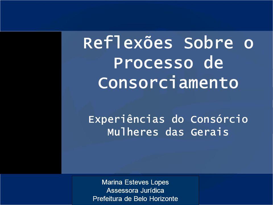 Reflexões Sobre o Processo de Consorciamento Experiências do Consórcio Mulheres das Gerais