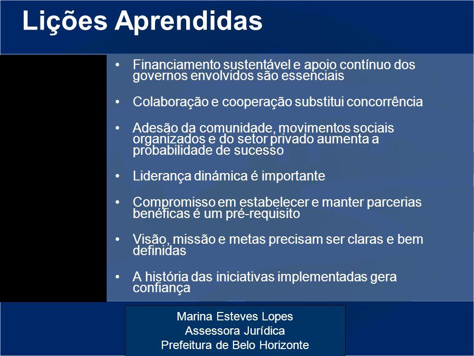 Lições Aprendidas Financiamento sustentável e apoio contínuo dos governos envolvidos são essenciais.