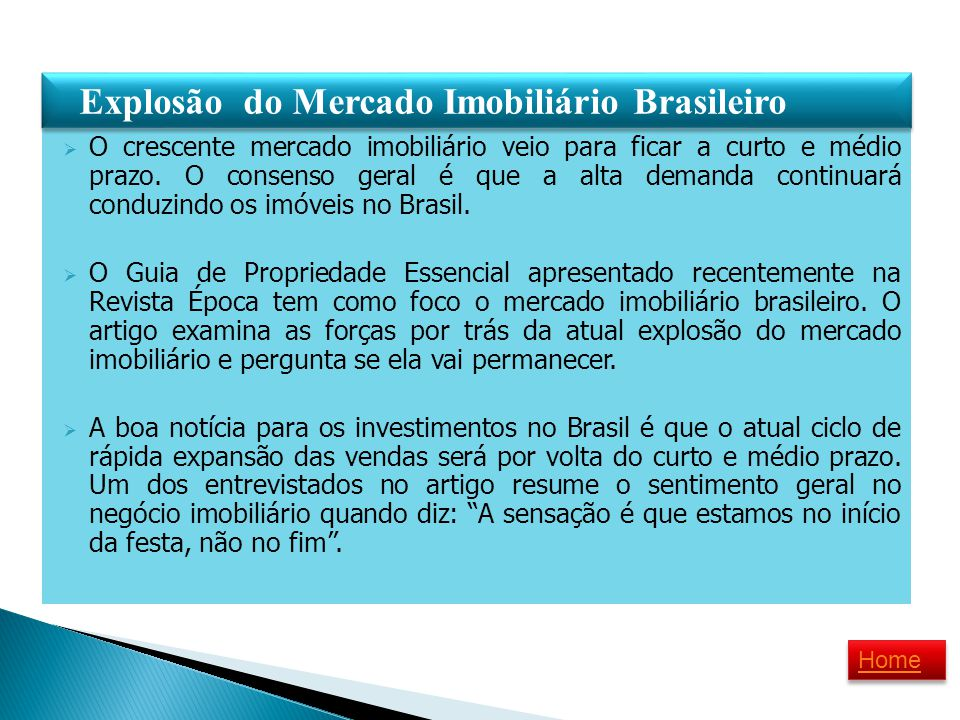 Explosão do Mercado Imobiliário Brasileiro