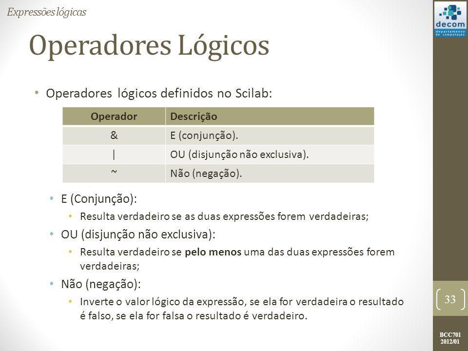 Operadores Lógicos Operadores lógicos definidos no Scilab:
