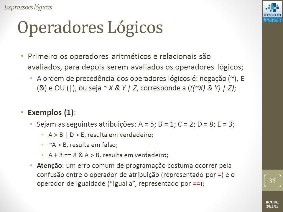 Expressões lógicas Operadores Lógicos.