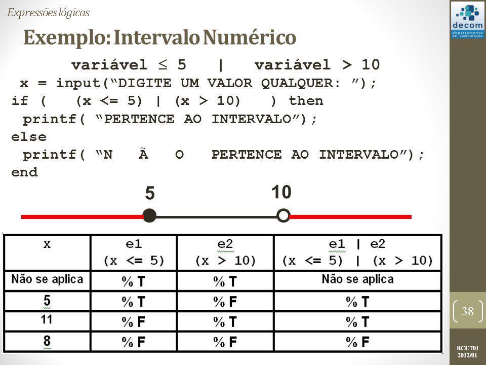 Exemplo: Intervalo Numérico