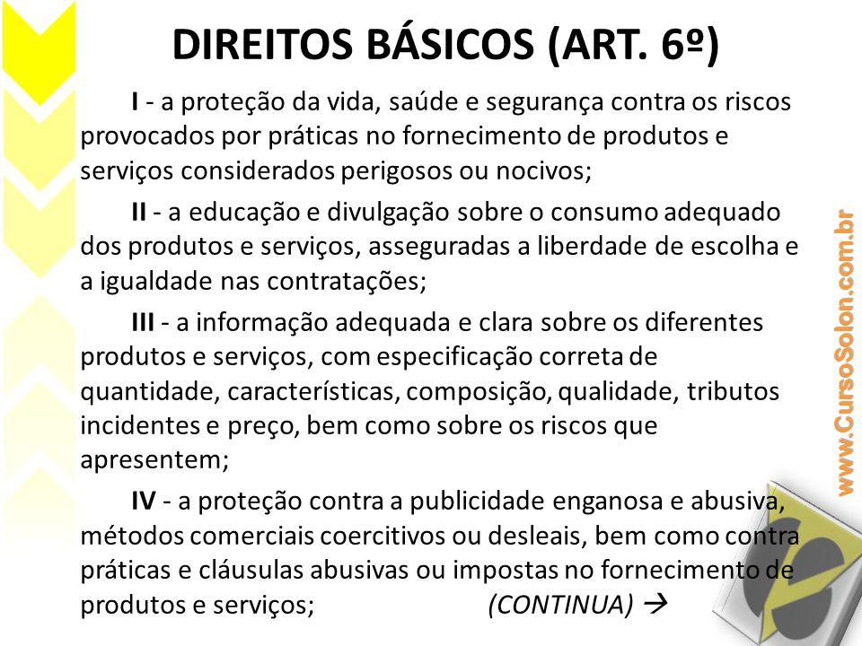 DIREITOS BÁSICOS (ART. 6º)