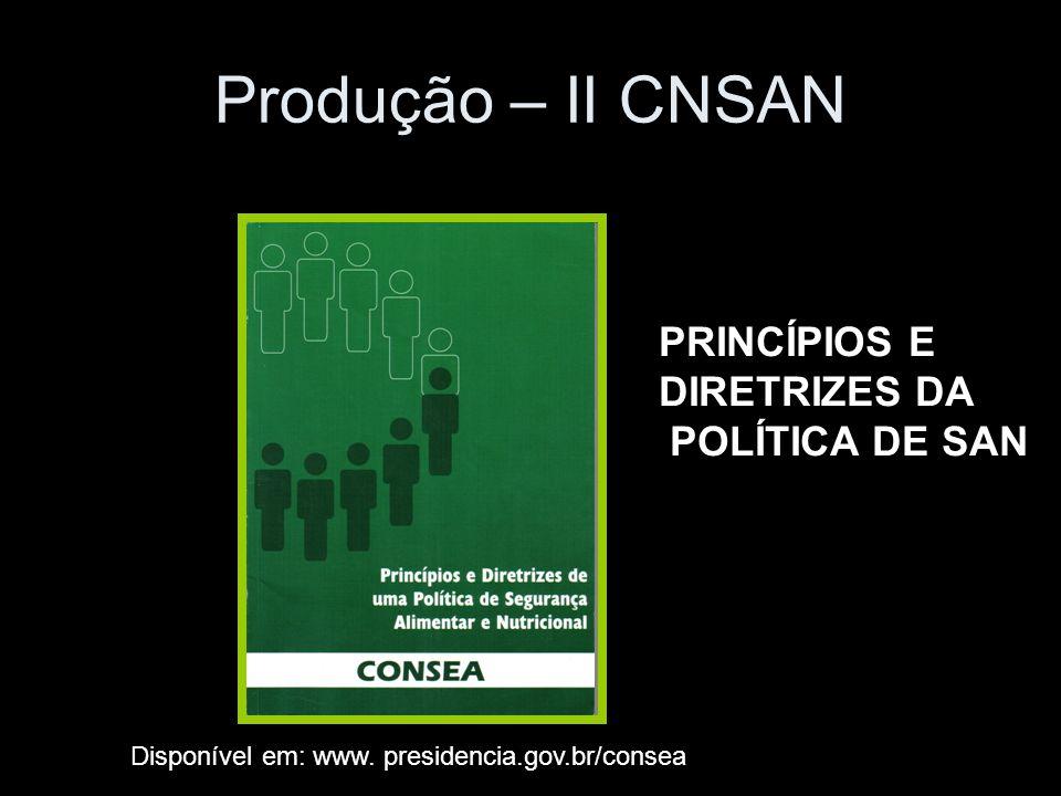 Produção – II CNSAN PRINCÍPIOS E DIRETRIZES DA POLÍTICA DE SAN