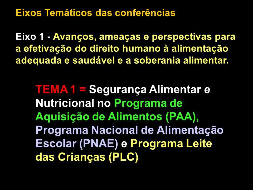 Eixos Temáticos das conferências