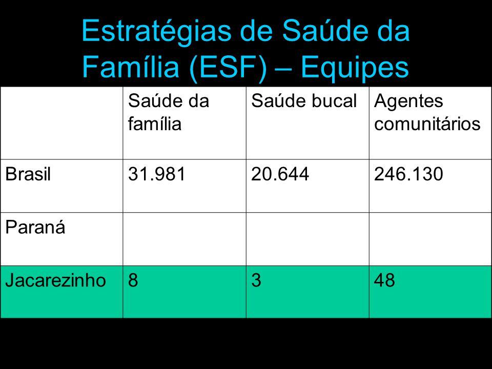 Estratégias de Saúde da Família (ESF) – Equipes