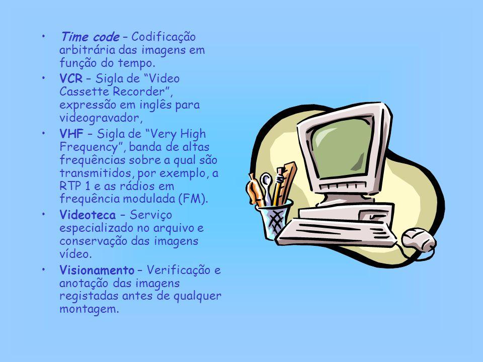 Time code – Codificação arbitrária das imagens em função do tempo.