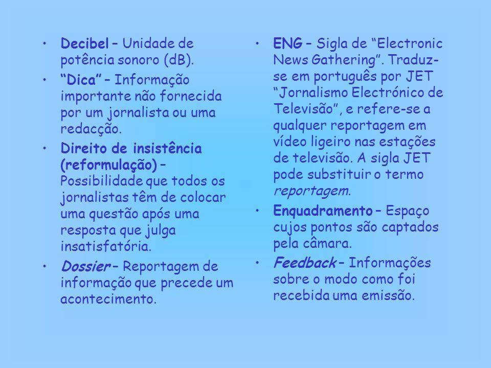 Decibel – Unidade de potência sonoro (dB).