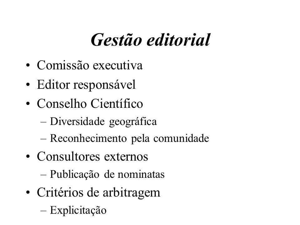 Gestão editorial Comissão executiva Editor responsável