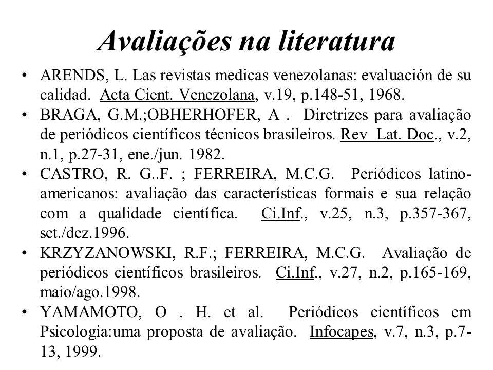 Avaliações na literatura
