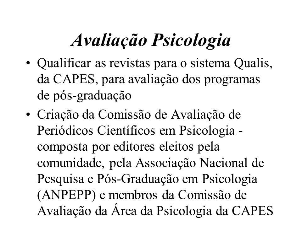 Avaliação Psicologia Qualificar as revistas para o sistema Qualis, da CAPES, para avaliação dos programas de pós-graduação.