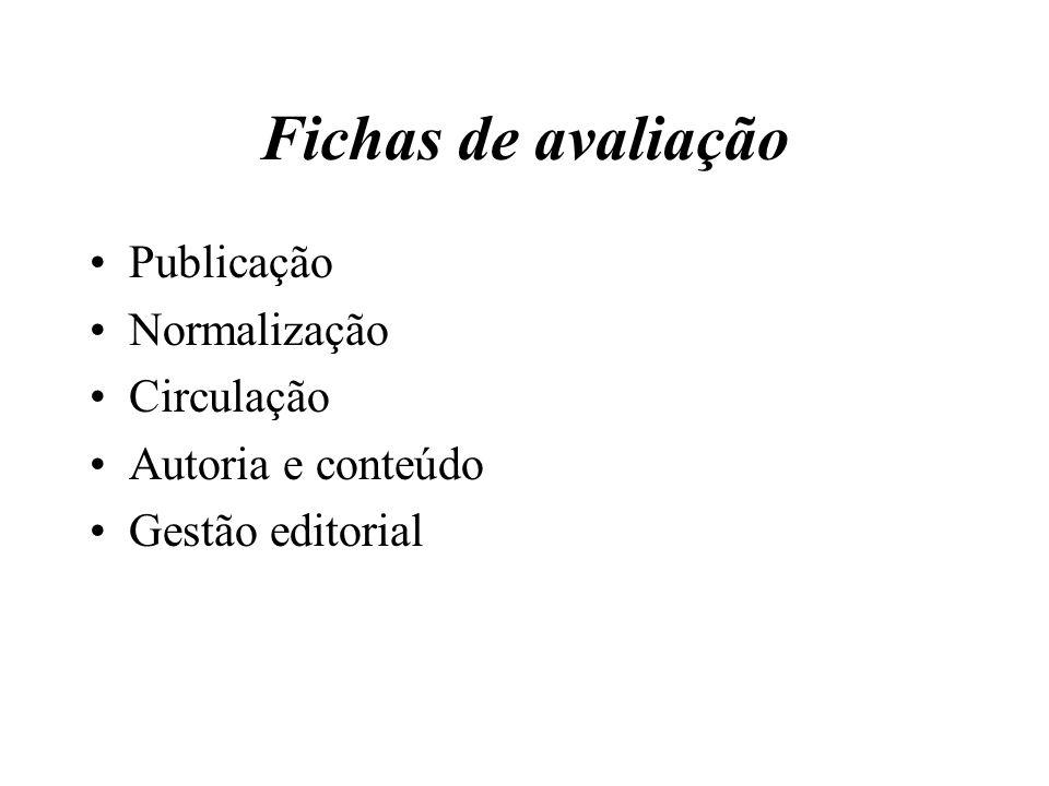Fichas de avaliação Publicação Normalização Circulação