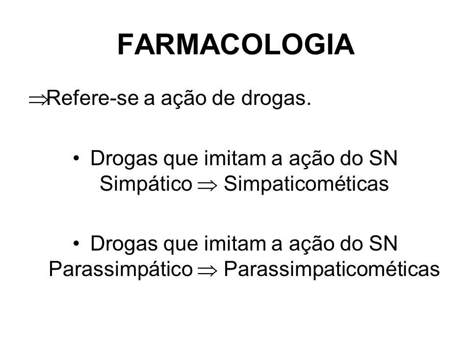 FARMACOLOGIA Refere-se a ação de drogas.