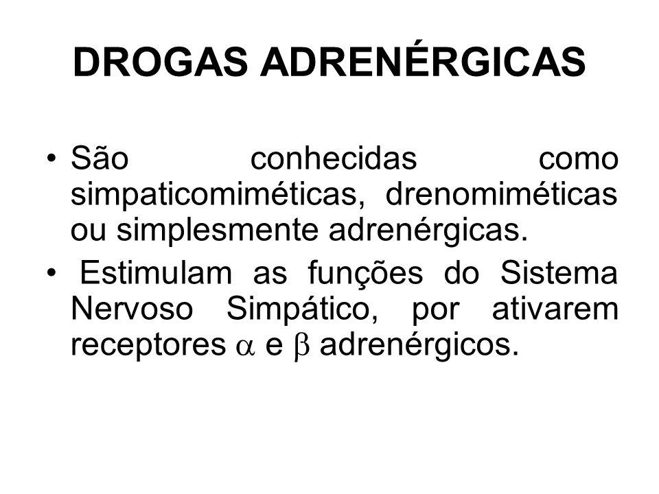 DROGAS ADRENÉRGICAS São conhecidas como simpaticomiméticas, drenomiméticas ou simplesmente adrenérgicas.