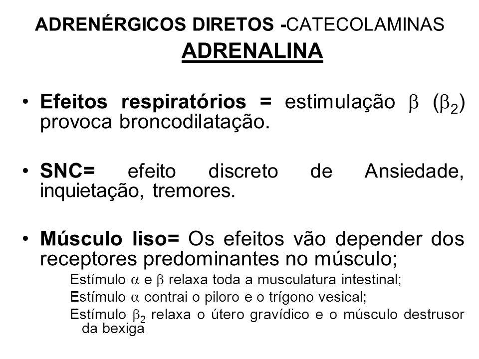 ADRENÉRGICOS DIRETOS -CATECOLAMINAS