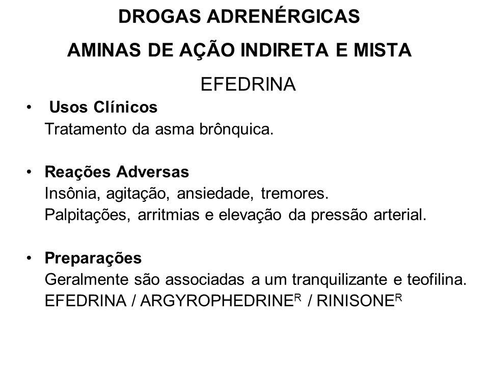 DROGAS ADRENÉRGICAS AMINAS DE AÇÃO INDIRETA E MISTA
