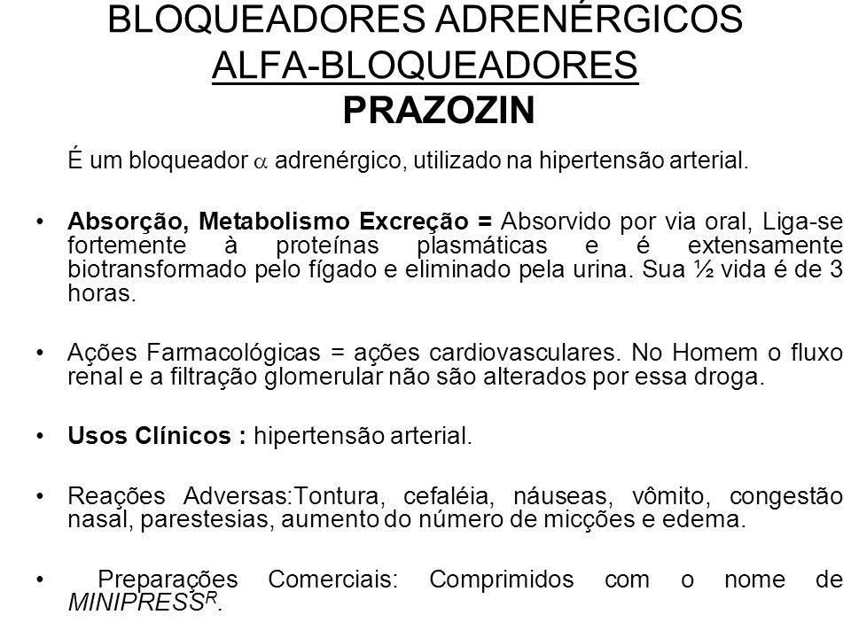 BLOQUEADORES ADRENÉRGICOS ALFA-BLOQUEADORES