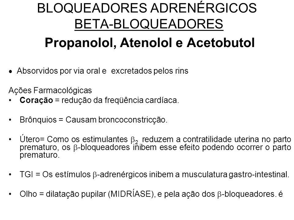 BLOQUEADORES ADRENÉRGICOS BETA-BLOQUEADORES