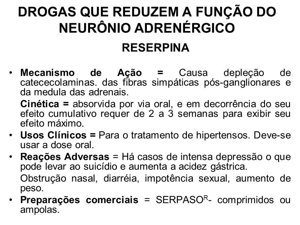 DROGAS QUE REDUZEM A FUNÇÃO DO NEURÔNIO ADRENÉRGICO
