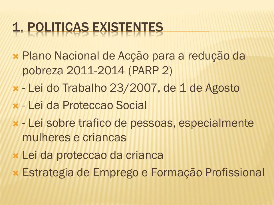 1. Politicas Existentes Plano Nacional de Acção para a redução da pobreza 2011-2014 (PARP 2) - Lei do Trabalho 23/2007, de 1 de Agosto.