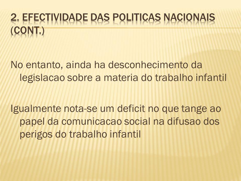 2. Efectividade das politicas nacionais (cont.)
