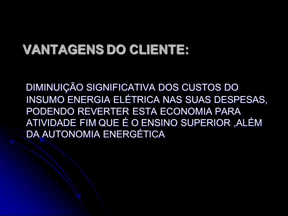 VANTAGENS DO CLIENTE: