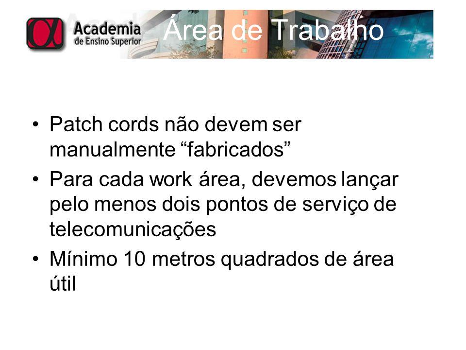 Área de Trabalho Patch cords não devem ser manualmente fabricados