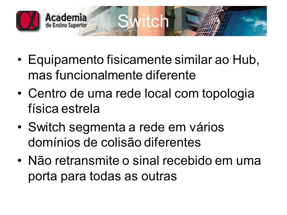 Switch Equipamento fisicamente similar ao Hub, mas funcionalmente diferente. Centro de uma rede local com topologia física estrela.