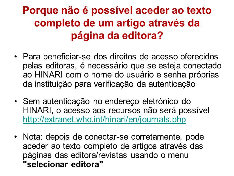 Porque não é possível aceder ao texto completo de um artigo através da página da editora