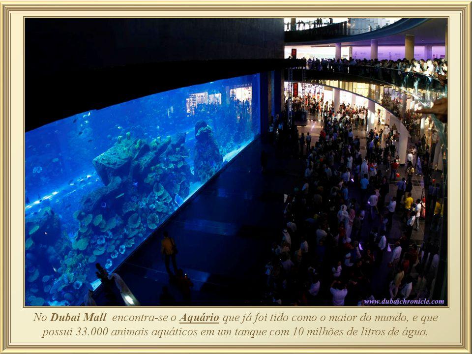 No Dubai Mall encontra-se o Aquário que já foi tido como o maior do mundo, e que possui 33.000 animais aquáticos em um tanque com 10 milhões de litros de água.