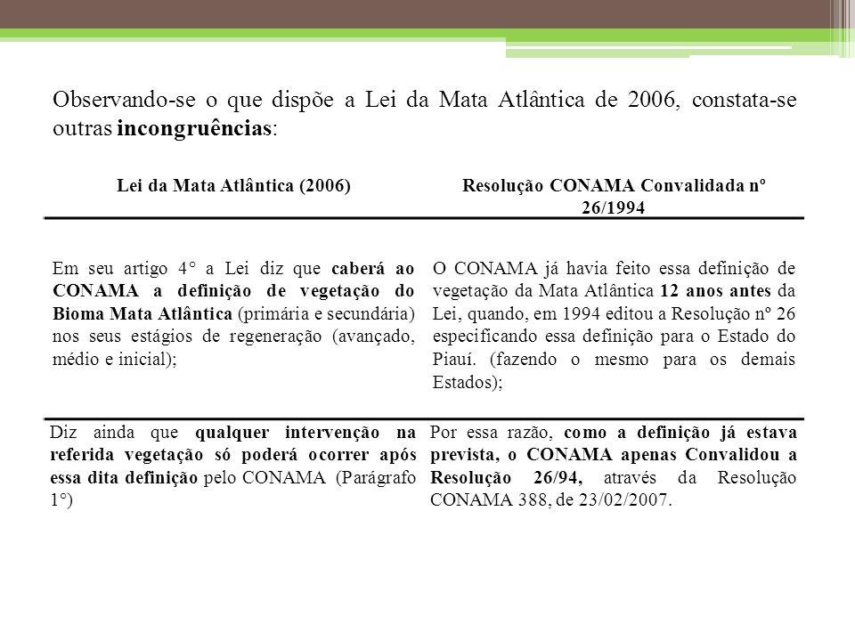 Lei da Mata Atlântica (2006) Resolução CONAMA Convalidada nº 26/1994