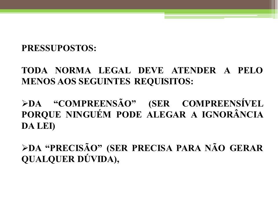 PRESSUPOSTOS: TODA NORMA LEGAL DEVE ATENDER A PELO MENOS AOS SEGUINTES REQUISITOS: