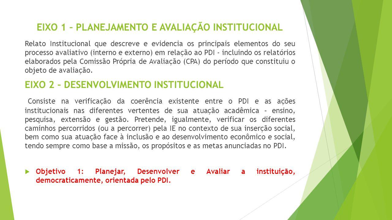 EIXO 1 – PLANEJAMENTO E AVALIAÇÃO INSTITUCIONAL