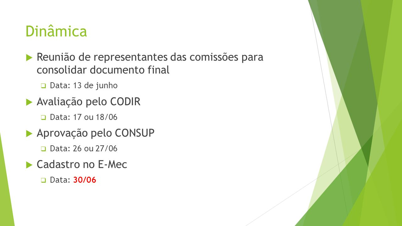 Dinâmica Reunião de representantes das comissões para consolidar documento final. Data: 13 de junho.