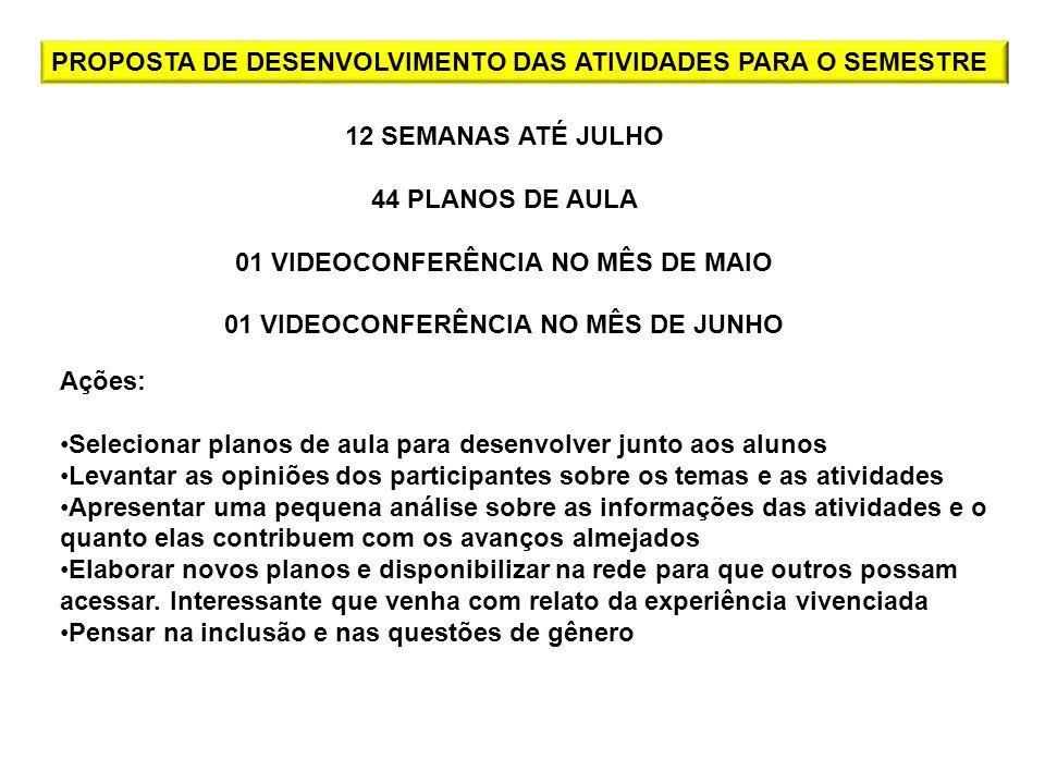 01 VIDEOCONFERÊNCIA NO MÊS DE MAIO 01 VIDEOCONFERÊNCIA NO MÊS DE JUNHO