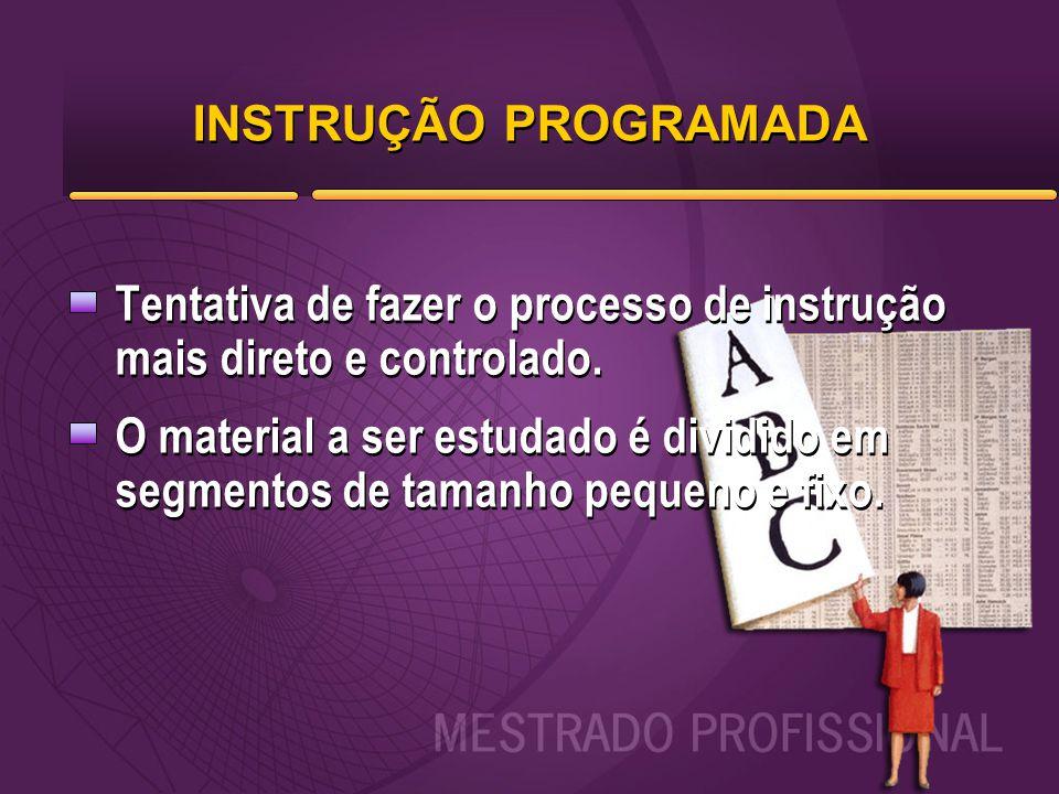 INSTRUÇÃO PROGRAMADA Tentativa de fazer o processo de instrução mais direto e controlado.