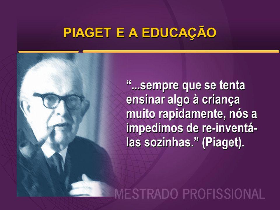 PIAGET E A EDUCAÇÃO ...sempre que se tenta ensinar algo à criança muito rapidamente, nós a impedimos de re-inventá-las sozinhas. (Piaget).
