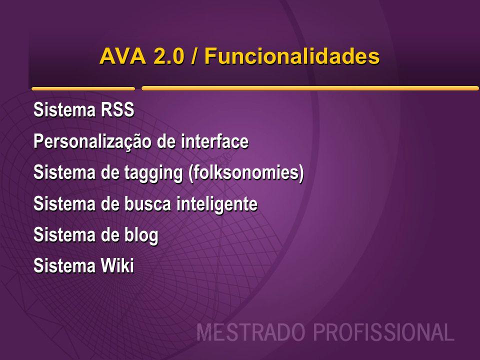 AVA 2.0 / Funcionalidades