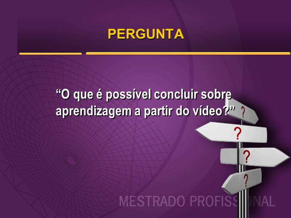 PERGUNTA O que é possível concluir sobre aprendizagem a partir do vídeo